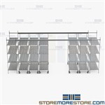 Moving Aisle Wire Storage Shelves Top Track Racks High Capacity SMS-TT-1872-16-4