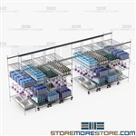 Wire Shelving Rolling on Tracks Space Saving Storage Racks SMS-TT-2448-14-4