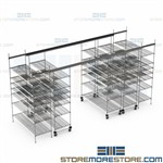 Overhead Track Wire Racks Optional Bins Storing Medical Supply Hospital Shelves