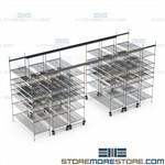 Compact Wire Racks Optional Bins Rolling Shelving Condenses Storage Space