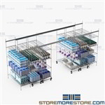 Rolling Wire Shelving on Tracks Moving Aisle Racks Hospital SMS-TT-2448-15-4