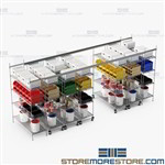 Top Track Wire Shelving Kits Rolling Storage Racks Mobile Aisle SMS-TT-2472-14-4