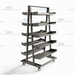 Five-Shelf Industrial Cart Adjustable Metal Shelves Removable Storage Shelves