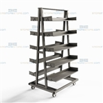Spare Parts Cart Rolling Storage Shelf Trolley Heavy-Duty Industrial Mobile Rack