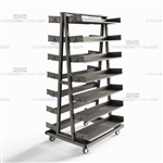 Mobile Parts Storage Cart Adjustable Steel Shelves Material Handling Cart Bins