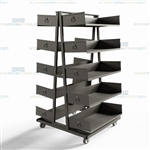 Warehouse Parts Picking Carts Storage Rack with Wheels Removable Steel Shelves