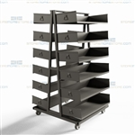 Industrial A-Frame Shelf Cart Rack Adjustable Storage Shelves Removable Bins