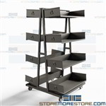 Double-Sided Industrial Cart Easily Adjustable Removable Storage Shelves Bins