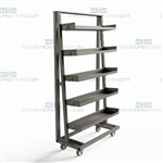 Steel Tray Cart Five Levels Adjustable Bin Shelves Strong Industrial Heavy-Duty