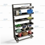Industrial Parts Storage Cart Removable Adjustable Steel Shelves Storage Truck