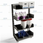 Parts Picking Cart Mobile Kitting Pick Station Wheeled Bins Adjustable Shelves
