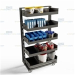 Assembly Line Cart Rolling Parts Storage Supply Maintenance Hardware Truck Bins