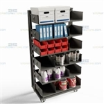 Six-High Shelving Cart Material Handling Rolling Storage Rack Adjustable Shelves