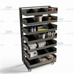 Mobile Parts Room Cart Hardware Tools Equipment Rolling Inventory Storage Truck