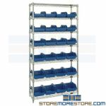 Rack with Double-Sided Bins Storage Wire Shelving Inventory Management Quantum