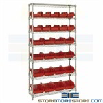 Dual-Sided Bin Rack Storage Shelving Wire Plastic Pick Bins Small Parts Quantum
