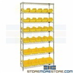 Double-Sided Bin Racks Wire Storage Shelving Small Parts Plastic Bins Quantum