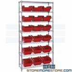 Shelving with Two-Sided Bins Wire Racks Small Inventory Item Storage Quantum