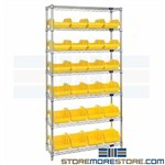 Bin Storage Rack Dual-Sided Plastic QuickPick Storage Bins Wire Shelving Quantum