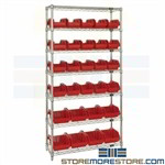 Double-Sided Storage Bin Rack Wire Shelves Plastic Small Parts Bins Quantum