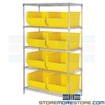 "Big Totes Wire Shelving Long Bins Storage Racks 30"" Deep Parts Containers Quantum"