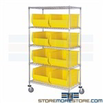 Big Totes Mobile Wire Shelving Storage Racks Rolling 18x30 Large Bins Quantum