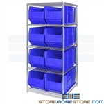 "Hulk Bin Shelving Large Plastic Totes Wire Racks 36"" Long Parts Storage Bins"