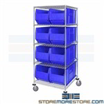 Rolling Hulk Bin Shelving 16x36 Parts Totes Storage Mobile Wire Racks Quantum
