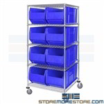 Extra Large Bins Rolling Wire Shelves Mobile Parts Storage Racks 24x36 Bins
