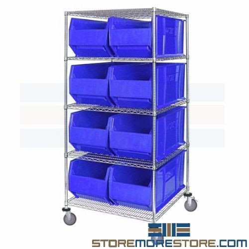 Extra Large Bins Rolling Wire Shelves Mobile Parts Storage Racks