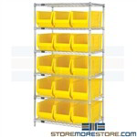 "Long Plastic Tote Shelving Large Bin Storage Racks 30"" Long Plastic Containers"