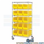 Long Plastic Tote Rolling Shelving 11x30 Bins Mobile Racks Bulk Parts Quantum
