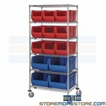 Long Plastic Bin Racks Wheels Wire Shelving Parts Mobile Storage Rolling Qauntum