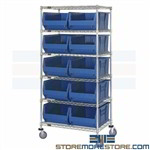 Large Totes Wheeled Wire Racks Mobile Bins Shelves Wire Storage 16x30 Parts Bins