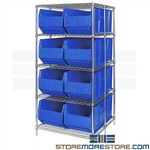 Large Rack Storage Bins Wire Shelving Big Plastic Bins Quantum WRA86-2136C-166