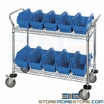 Bin Cart Double-Sided Rolling Storage Shelves Plastic QuickPick Bins Quantum