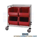Bulk Bin Cart Wire Shelving Waist-High Mobile Rack Cart Quantum WRC2-36-3036-976