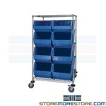 Bin Transport Cart Large Bins Tall Mobile Rack Cart Quantum WRC2-63-3036-974976