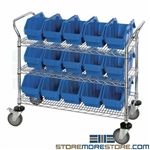 Double-Sided Storage Bin Cart Wire Rolling Shelf Plastic Bin Storage Quantum