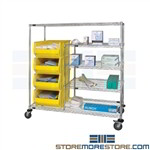 Bin Transport Wire Cart Medical Inventory Shelving Rack Wheels WRCPL-63-2460-955