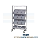 Wire Rack Angled Bins Storage Cart Slanted Shelves Quantum WRS-5-92035BL Blue