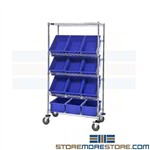 Wire Sloping Shelf Rack Cart Mobile Angled Bin Shelving Quantum WRS-5-92060BL