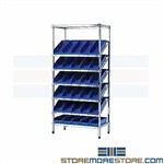 Bins on Angled Wire Shelves Bin Storage Shelving Quantum WRS-7-108BK Black