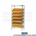 Gravity Bins on Angled Wire Racks Rolling Carts Tilt Shelves Quantum WRS-7-606