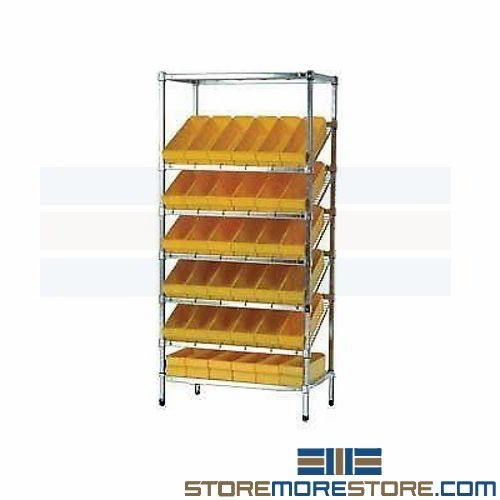 Wire Rack Rolling Cart | Gravity Bins On Angled Wire Racks Rolling Carts Tilt Shelves Quantum