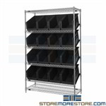 Small Part Wire Waist-high Bin Shelving Quantum WRSL6-74-1848-260BK Black