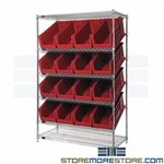 Cart Angled Shelf Mobile Bin Storage Rack Work Process Casters Quantum WRSL6-74-2448-953