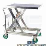 Stainless Lift Table Rolling Cart Hydraulic Pump Corrosion Resistant Cleanroom