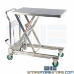 Stainless Medical Lift Table Cart Pharmaceutical Hydraulic Scissor Lift Cleanroom