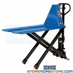 Manual Skid Lift Pallet Jack Raises Waist-High